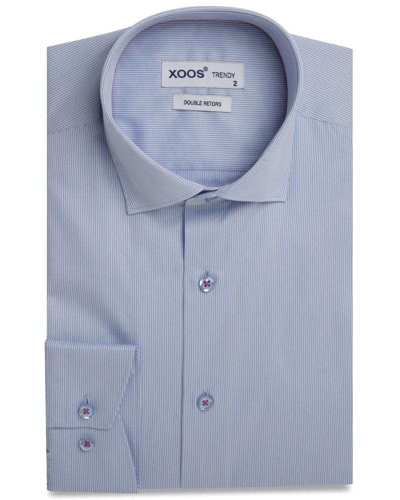 XOOS Men's light blue fitted and striped dress shirt fuschia lining (Double Twisted)