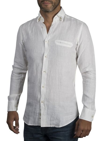 XOOS Men's fitted white linen shirt