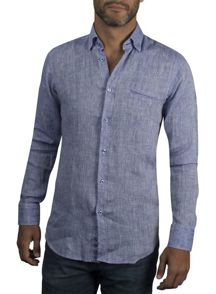 XOOS Men's fitted blue linen shirt