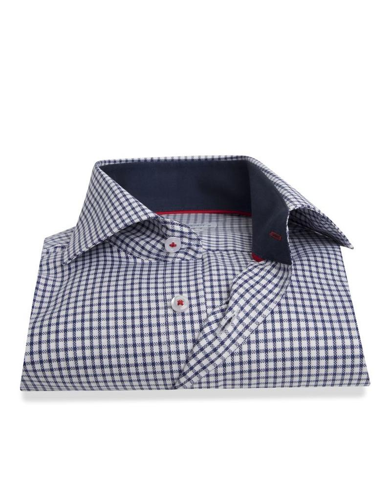 XOOS Men's navy blue checkered dress shirt navy braid and red lining (Double Twisted)