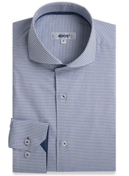 XOOS Blue houndstooth fitted dress shirt