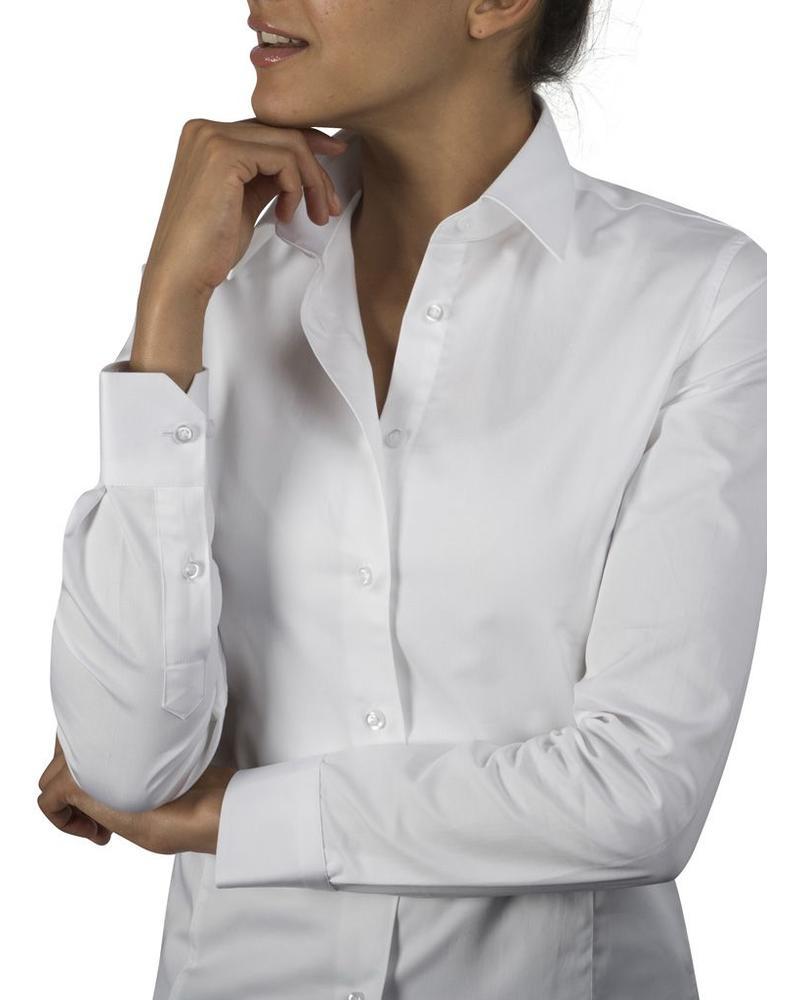 XOOS Chemisier femme cintré blanc uni