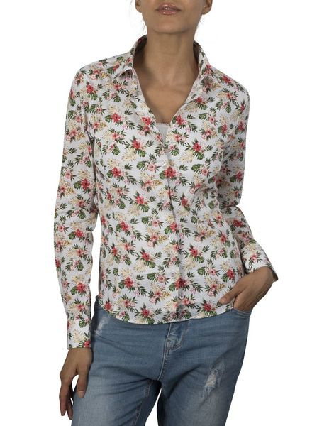 XOOS WOMEN floral and tropical printed patterned shirt coral lining