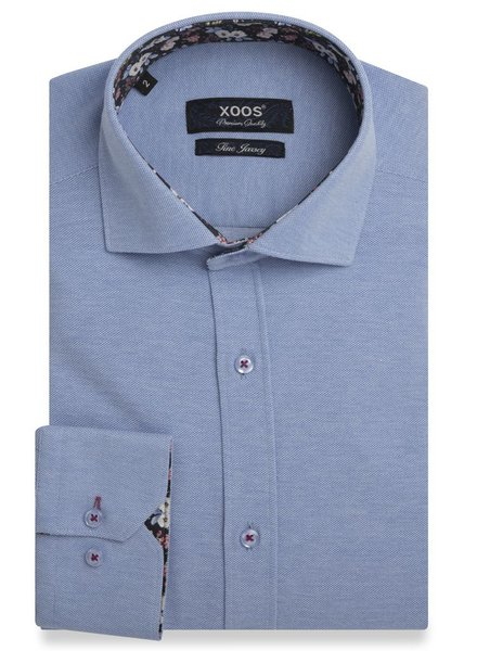 XOOS Men's CLASSIC-FIT blue JERSEY shirt with floral print lining (Double Twisted)