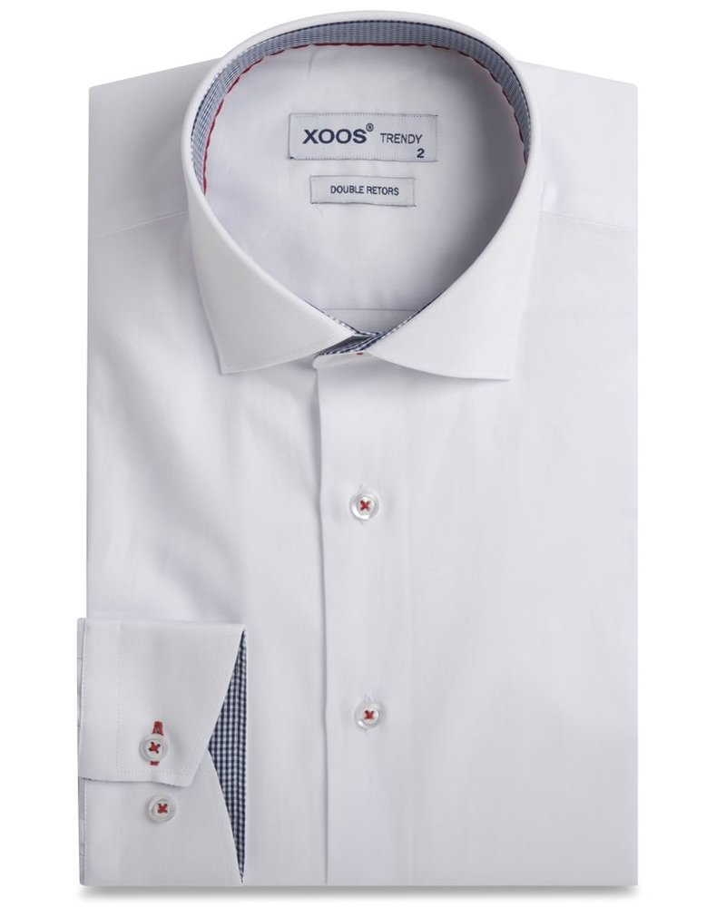 XOOS Men's white fitted dress shirt with gingham lining (Double Twisted)