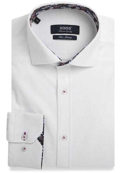 XOOS Chemise NON CINTRÉE en jersey blanc doublure à fleurs (Double Retors)