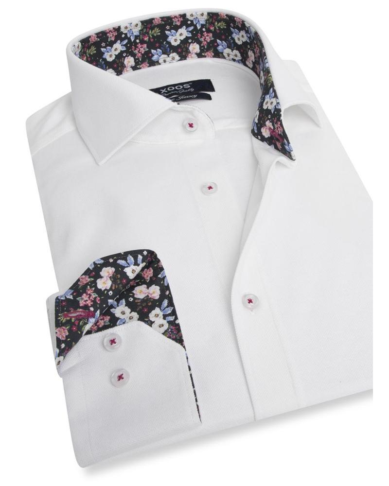 XOOS Men's CLASSIC-FIT white JERSEY shirt with floral print lining (Double Twisted)