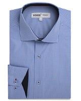 XOOS Men's blue checkered dress shirt white collar stand and navy braid