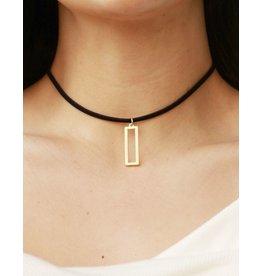 Jewelry 34 Cut-Out Rectangle Dangle Choker