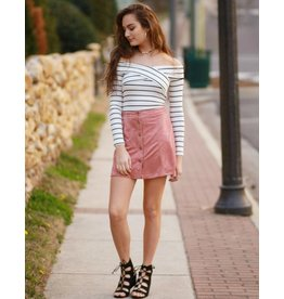 Skirts 62 Suede Button Up Rose Skirt