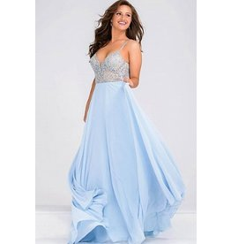 Formalwear Jovani Spaghetti Strap Beaded Bodice Chiffon Formal Dress