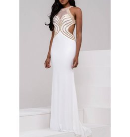 Formalwear Jovani Halter Neck Embellished Bodice And Open Back Prom/Formal Dress