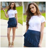 Skirts 62 Spring Forward Suede Ruffle Navy Skirt