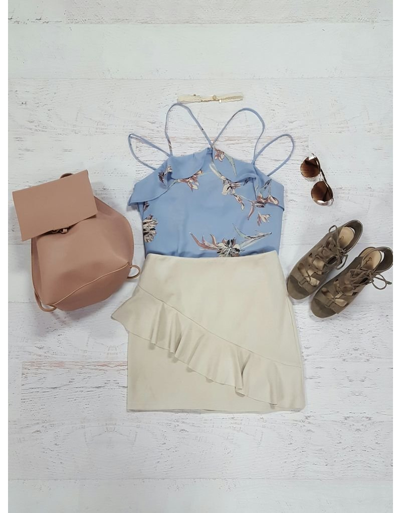 Tops 66 Periwinkle & Floral Top