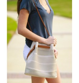 Accessories 10 Taupe Pull Through Perforated Bucket Bag