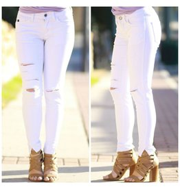Pants 46 Distressed & Ripped Knee White Denim