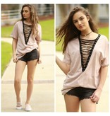 Tops 66 Lace Up Mauve Top