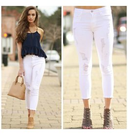 Pants 46 Distressed In White Denim