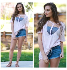 Tops 66 Distressed V-Neck Tee