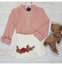 Shorts 58 Rose Embroidered White Skort