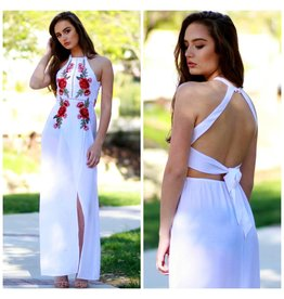 Dresses 22 Rose Embroidered White Maxi Dress