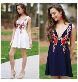 Dresses 22 Deep V Floral Embroidered Dress