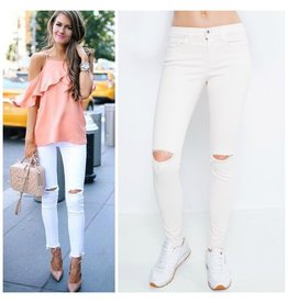 Pants 46 Ripped Knee and Frayed Bottom White Denim