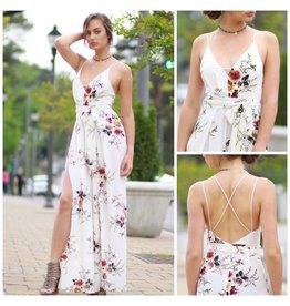 Jumpsuit Summer Social White Floral Jumpsuit