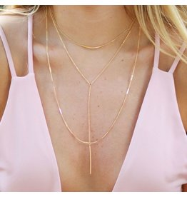 Jewelry 34 Bar 3 Layer Y Gold Necklace