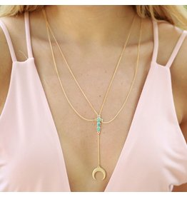 Jewelry 34 Layered Y Crescent Moon Necklace Turquoise