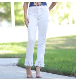 Pants 46 Fun Frayed White Denim Skinny Jeans