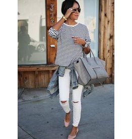 Pants 46 Ripped Knee White Skinny Denim