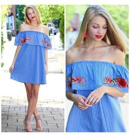 Dresses 22 Summer Stripes And Floral Off Shoulder Dress