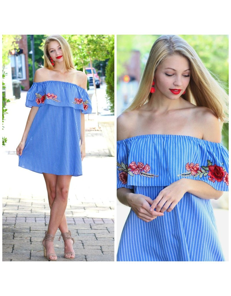 Dresses 22 Summer Stripes And Floral Off Shoulder Dress