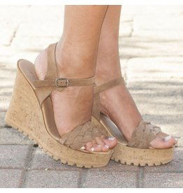 Shoes 54 Braided Taupe Wedge