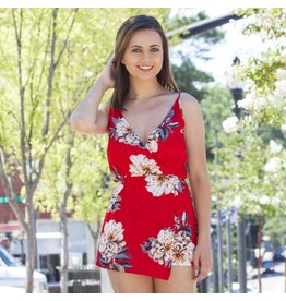 Rompers 48 Bright and Forever Red Floral Romper