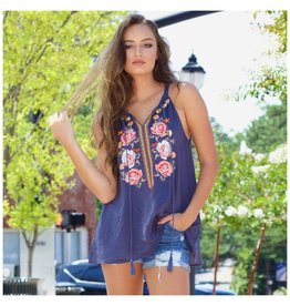 Tops 66 Floral Embroidery Summer Grey Top