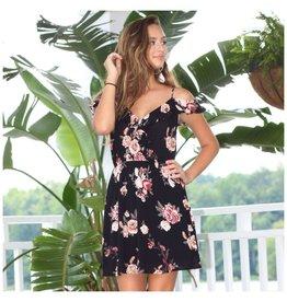 Dresses 22 Forever in Florals Cold Shoulder Black Dress