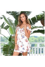 Dresses 22 Forever in Florals Cold Shoulder Ivory Dress