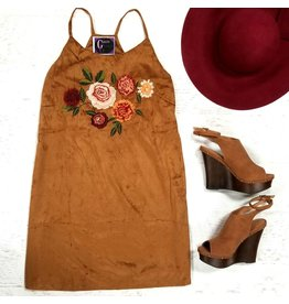 Dresses 22 Find Your Way Suede Embroidered Tan Dress
