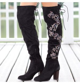 Shoes 54 Embroidered Over The Knee Black Boot