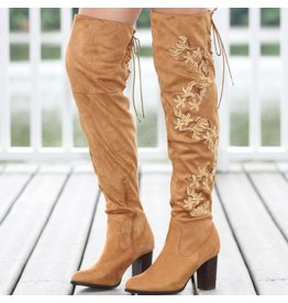 Shoes 54 Embroidered Over The Knee Boot Tan Boot