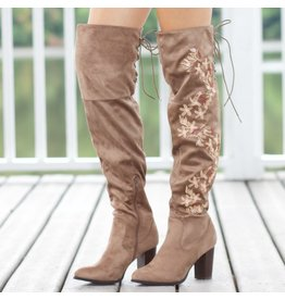 Shoes 54 Embroidered Over The Knee Taupe Boot