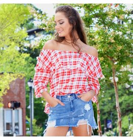 Tops 66 Your Plaid Ways Off Shoulder Top
