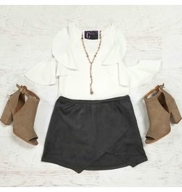 Shorts 58 Grey Suede Skort