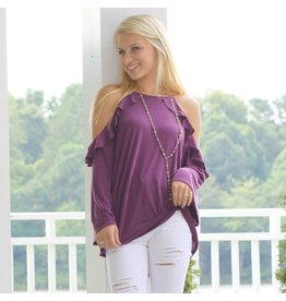 Tops 66 Right To Ruffle Plum Top