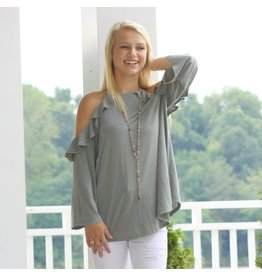 Tops 66 Right To Ruffle Sage Top