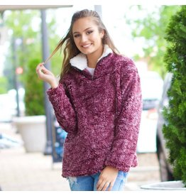 Outerwear Fall Sherpa Burgundy Pull Over