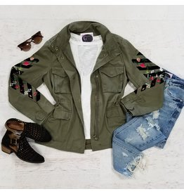 Outerwear Thinking Out Loud Embroidered Olive Parka