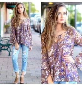 Tops 66 Fall Essential Lavender Floral Top